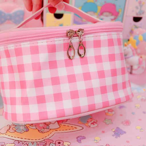 Kawaii  Japanese  Korean Girl heart pink plaid large capacity convenient travel storage bag wash cosmetic bag female sundries bag
