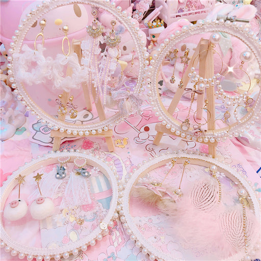 Kawaii  Japanese  Korean  -Pearl Lace Earring Jewelry Frame