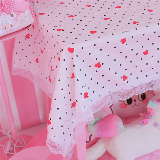 Kawaii Japanese Korean pink girl heart lace table mat/sweet rectangular background cloth