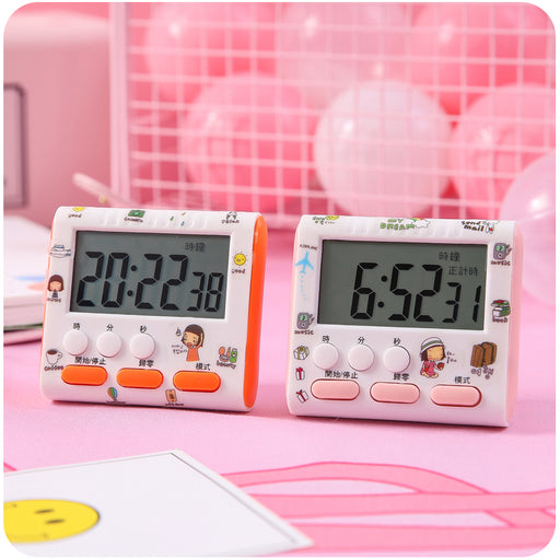 Kawaii Japanese Korean girl heart timer reminder cute electronic alarm clock