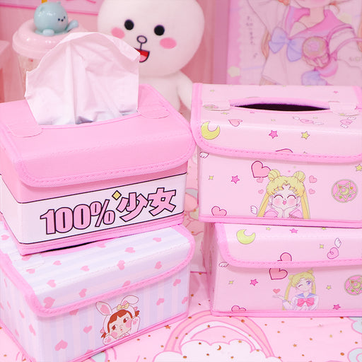 Kawaii  Japanese  Korean Pink cute beautiful girl heart leather tissue box foldable storage box