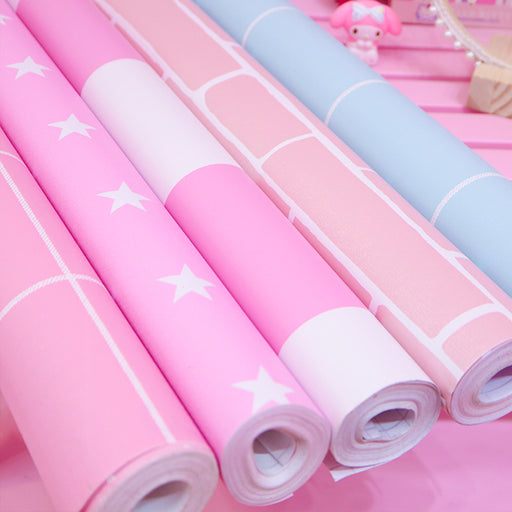 Kawaii  Japanese  Korean  -Pink girl heart room dormitory bedroom bedroom self-adhesive wallpaper layout