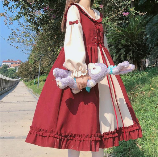 Japanese college sweet color matching cross strap lantern sleeve fungus dress