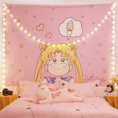 Kawaii  Japanese  Korean  -Pink beautiful girl room bedside decoration decorative hanging cloth