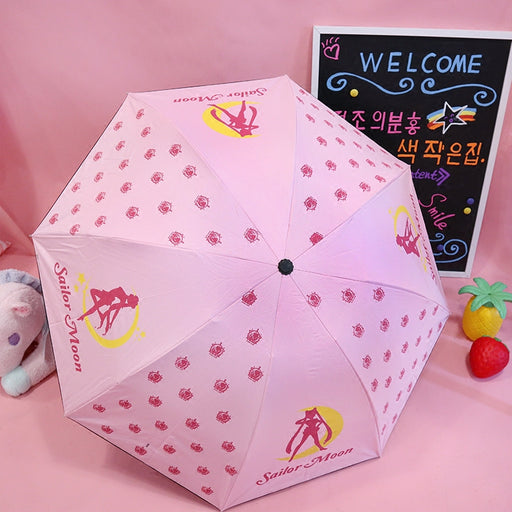 Kawaii  Japanese  Korean  Sailor Moon Pink Folding Sun Protection UV Protection Sun Umbrella