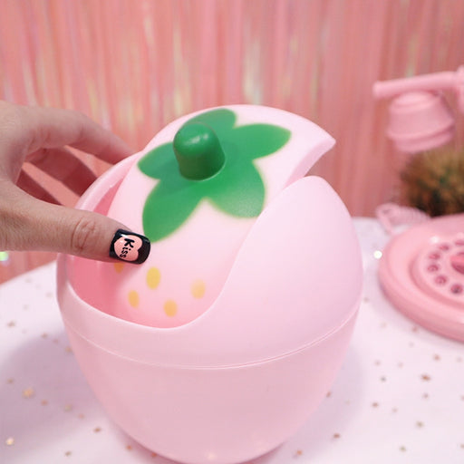 Kawaii  Japanese  Korean Girl Heart Pink Desktop Shake Lid Trash Can Cute Strawberry Mini Storage Bin Desk Plastic Small Trash