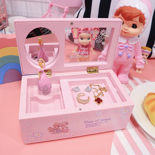 Kawaii  Japanese  Korean Pink Music Jewelry Box Storage Box Rectangular Rotating Girl Transparent Lid Music Box