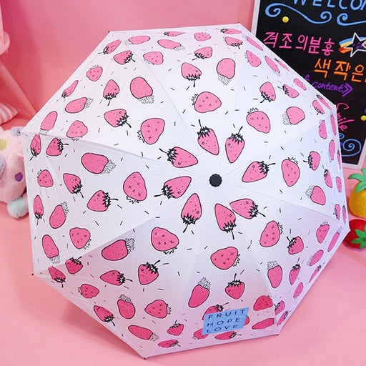 Soft cute girl heart Japanese cute little fresh fruit strawberry vinyl sunscreen umbrella