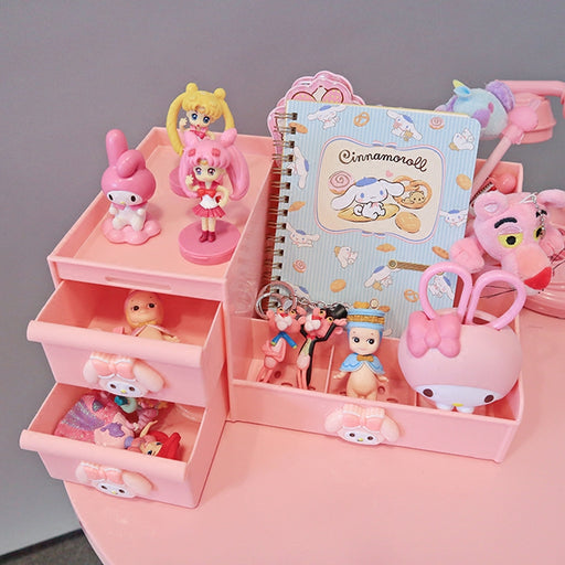 Kawaii  Japanese  Korean Girl heart  cartoon pink large capacity drawer cosmetic storage box multifunctional desktop storage drawer