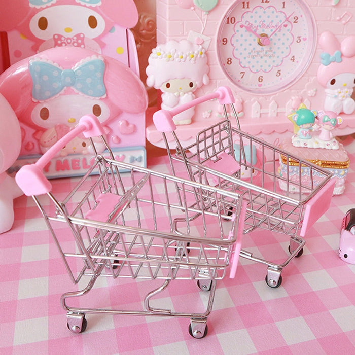 Kawaii  Japanese  Korean Girly heart mini cute shopping cart small cart shooting background props desktop small ornaments mini storage