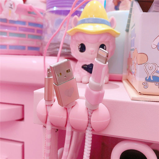 Kawaii  Japanese  Korean  Pink silicone desktop snap-on cable organizer