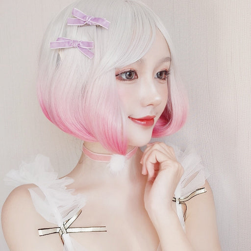 Lolita Silvery White Gradient Pear Blossom Short Curly Hair