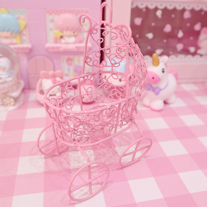 Kawaii  Japanese  Korean Wrought iron baby carriage shape powder puff stand beauty makeup egg egg tray cotton gourd stand pink desktop decoration