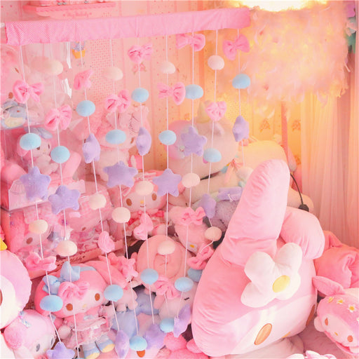 Japanese soft girl girl heart bow star moon decoration curtain living room / bedroom / princess room / wall decoration