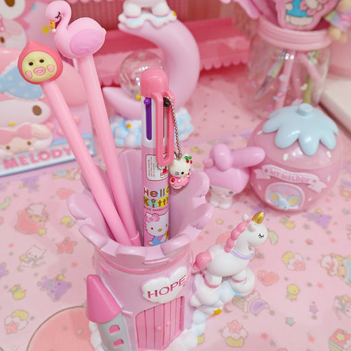 Kawaii  Japanese  Korean  Girl Heart Castle Unicorn Desktop Pen Holder Decoration