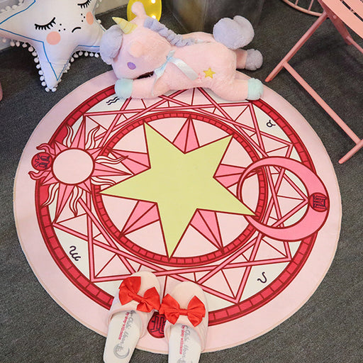 Cartoon cute cute girl cloakroom magic girl floor mat round rug