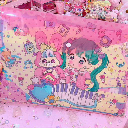Kawaii Japanese Korean Fantasy Girl PVC File Bag // A4 Storage Folder