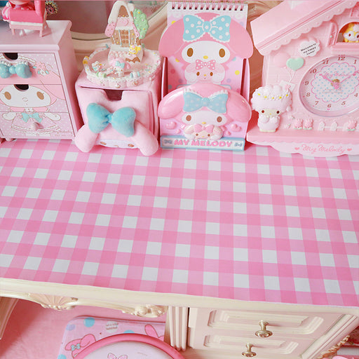 Kawaii Japanese Koreanins soft sister girl heart small fresh table mat / pink plaid place mat / background mat
