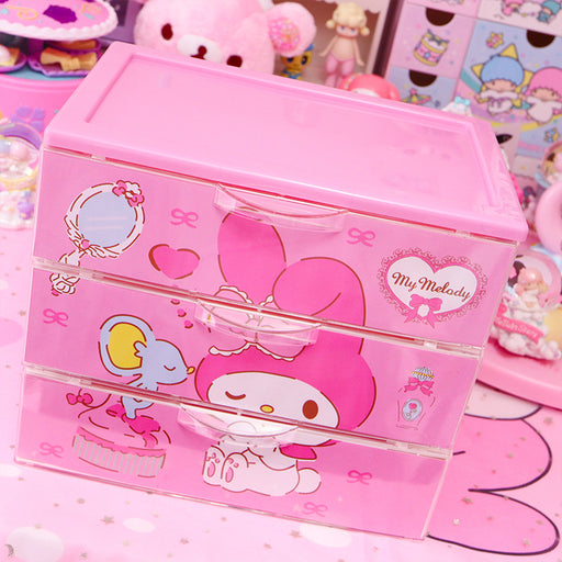 Kawaii  Japanese  Korean Soft sister Melody cute desktop cartoon drawer storage box desktop finishing box pink stationery storage cabinet