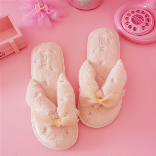 Kawaii  Japanese  Korean  -Pink plush open-toe non-slip home slippers