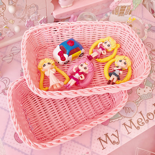 Kawaii  Japanese  Korean Sweet plastic woven girl heart desktop storage basket photo props storage basket desktop cosmetic storage box