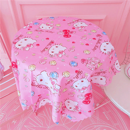 Kawaii Japanese Korean cute Melody K*T bow hollow lace tablecloth/picnic mat/soft cute decorative background cloth
