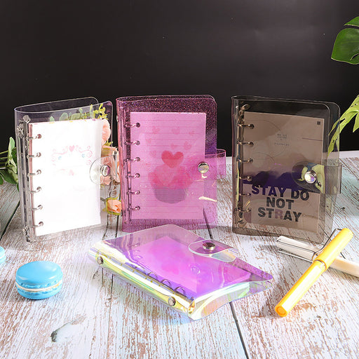 A5/A6/A7 PVC Planner Binder,Transparent Color Binder, High Quality Cover, Refilled Planner Cover, Loose Leaf Cover Binder 6 Ring.