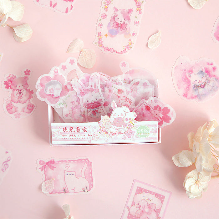50PCS,Kawaii Sticker,Pink Sticker,Lab&Tag,Sticker Pack,Notebook Sticker,Lap Tap and Diary Sticker,Stationery