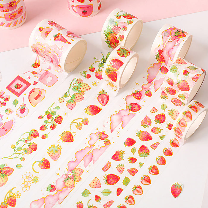 Strawberry Washi Tape Set,Fruit Style Tape,Rice Paper Masking Tape,Scrapbooking Supply,DIY Tape,Beautiful Stationery