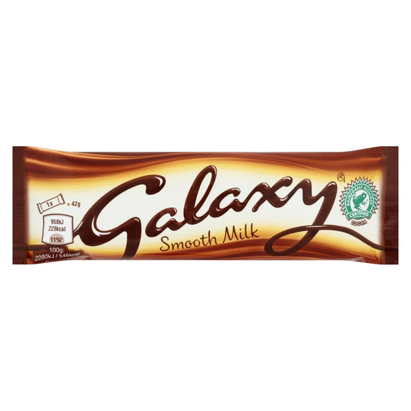 Mars Galaxy Smooth Milk Bar Std 24x42g [Regular Stock], Mars, Chocolate Bar/Bag- HP Imports