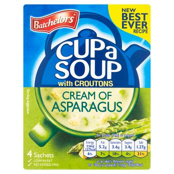 Batchelors Cup a Soup Cream of Asparagus with Croutons 4PK 9x117g [Regular Stock], Batchelors, Soups- HP Imports