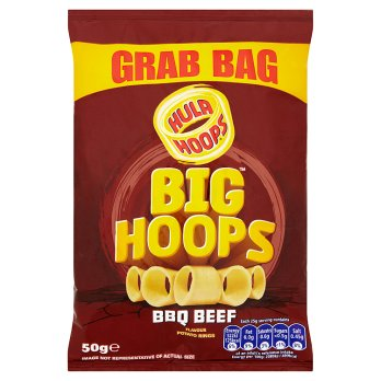 Hula Hoops Big Hoops BBQ Beef Flavour Potato Rings 36x50g [Regular Stock], Hula Hoops, Crisps/Snacks- HP Imports