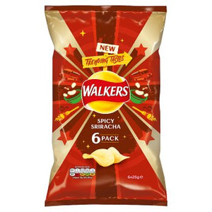Walkers Spicy Sriracha Crisps 6PK 18x25g [Regular Stock], Walkers, Crisps/Snacks- HP Imports