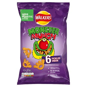 Walkers Monster Munch Pickled Onion Snacks 6PK 18x22g [Regular Stock], Walkers, Crisps/Snacks- HP Imports