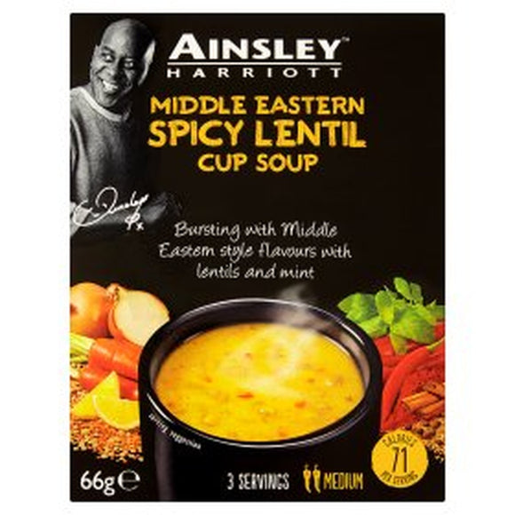 Ainsley Harriott Middle Eastern Spicy Lentil Cup Soup (PM) 12x66g [Regular Stock], Ainsley Harriot, Soups- HP Imports
