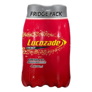 Lucozade Energy Original 4x380ml [Regular Stock], Lucozade, Pop Cans- HP Imports
