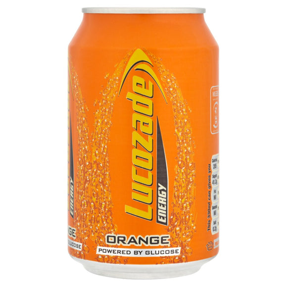 Lucozade Orange Cans 24x330ml [Regular Stock], Lucozade, Pop Cans- HP Imports