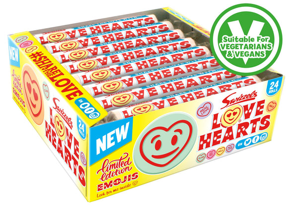 Swizzels Love Hearts Rolls 24x39g [Regular Stock], Swizzels, Bagged Candy- HP Imports