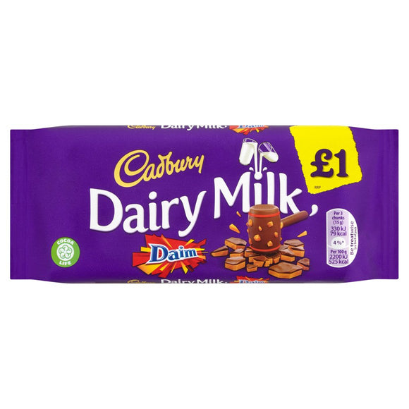 Cadbury Dairy Milk Daim (PM) 18x120g [Regular Stock], Cadbury, Chocolate Bar/Bag- HP Imports