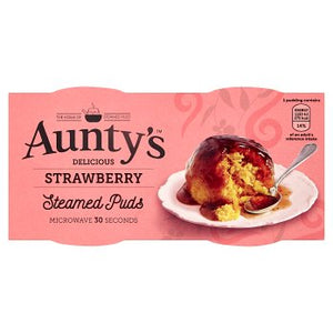 Aunty's Strawberry Steamed Pudding 6PK 2x95g [Regular Stock], Aunty's, Desserts- HP Imports