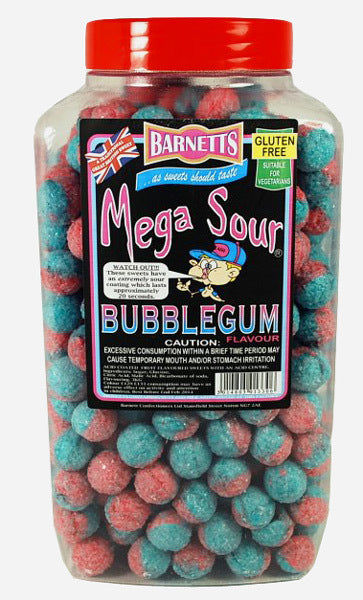 Barnetts Mega Sour Bubblegum Jar 3kg [Regular Stock], Bulk Candy, Barnetts, [variant_title],HP Imports British Wholesale Distribution