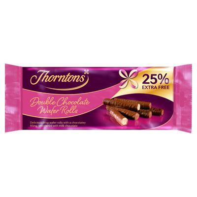Thornton's Double Chocolate Wafer Rolls 14x129g (25% free) [Regular Stock], Thorntons, Biscuits/Crackers- HP Imports