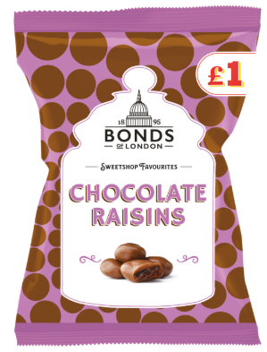 Bonds Chocolate Raisins Share Bags (PM) 12x150g [Regular Stock], Bonds, Bagged Candy- HP Imports