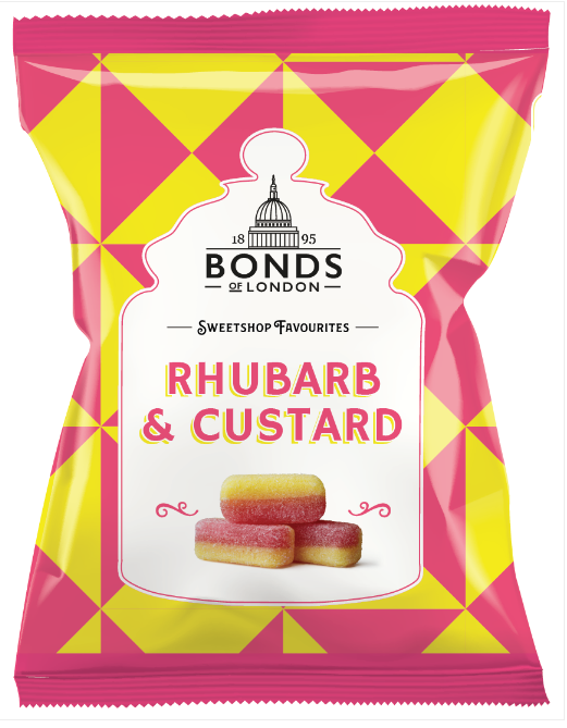 Bonds Rhubarb & Custard 12*150g [Regular Stock], Bagged Candy, Bonds, [variant_title],HP Imports British Wholesale Distribution