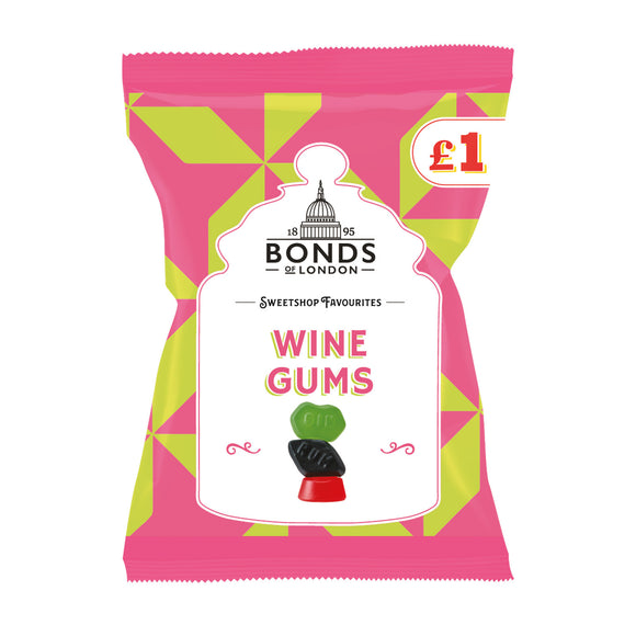 Bonds Wine Gums (PM) 12*150g [Regular Stock], Bagged Candy, Bonds, [variant_title],HP Imports British Wholesale Distribution