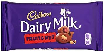 Cadbury Dairy Milk Fruit & Nut 15x200g [Regular Stock], Cadbury, Chocolate Bar/Bag- HP Imports