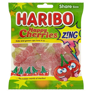Haribo Happy Cherries Zing (Sour) 12x140gm [Regular Stock], Haribo, Bagged Candy- HP Imports