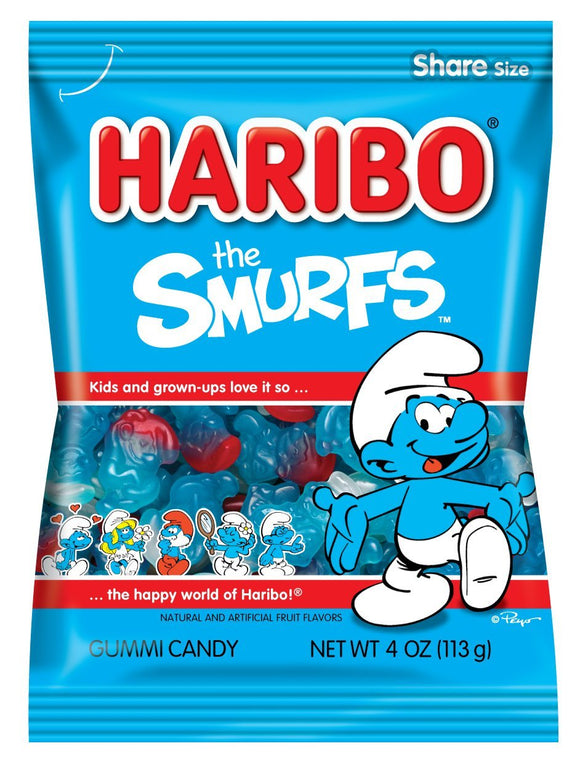 Haribo Smurfs 12x140gm [Regular Stock], Haribo, Bagged Candy- HP Imports