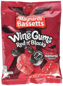 Maynards Bassetts Red & Black Wine Gums 12*165g [Regular Stock], Bagged Candy, Maynards Bassetts, [variant_title],HP Imports British Wholesale Distribution