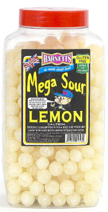 Barnetts Mega Sour Lemon Jar 3kg [Regular Stock], Barnetts, Bulk Candy- HP Imports